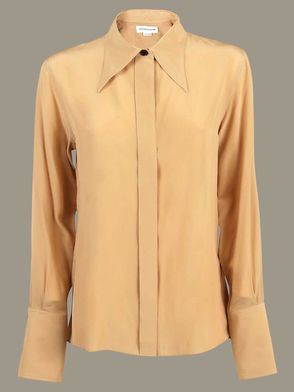 Рубашка Victoria Victoria Beckham: Рубашка Женское Victoria Victoria Beckham желто-коричневый 1
