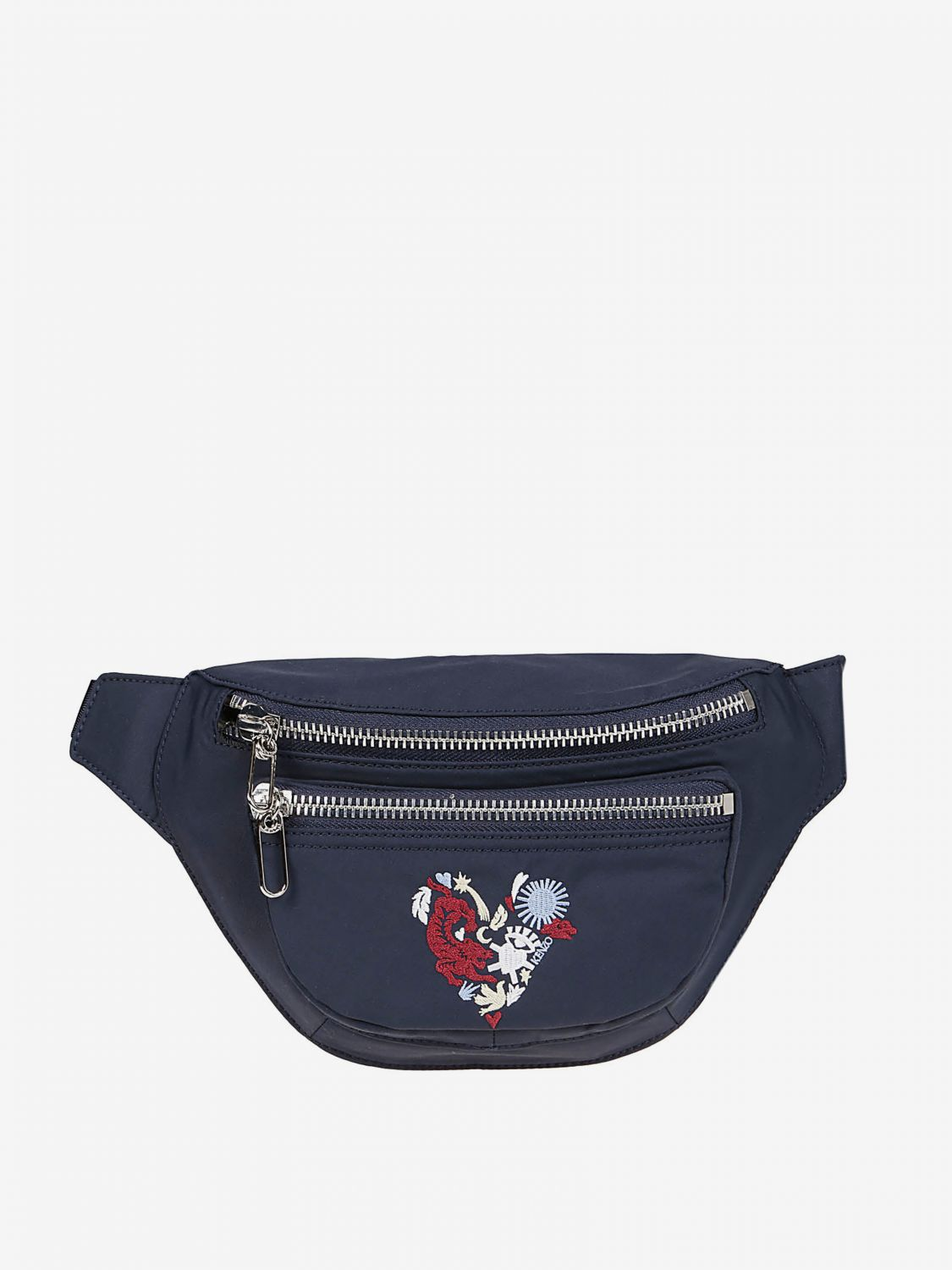Kenzo cotton belt bag with heart logo print blue 1