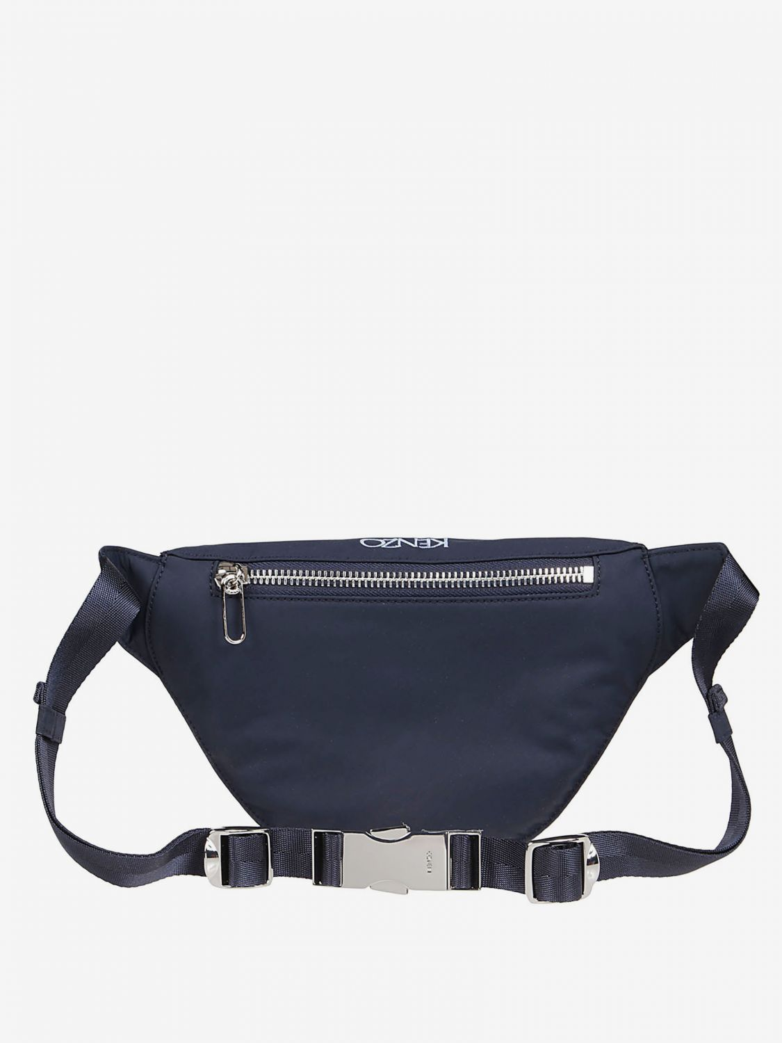 Kenzo cotton belt bag with heart logo print blue 2
