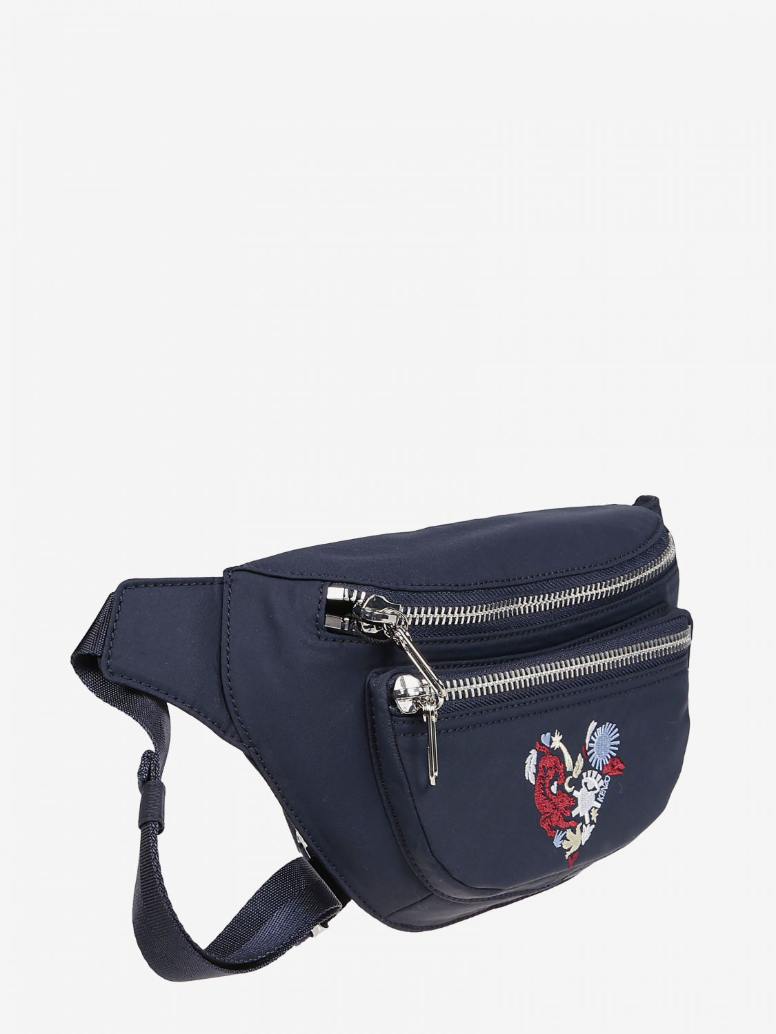 Kenzo cotton belt bag with heart logo print blue 3