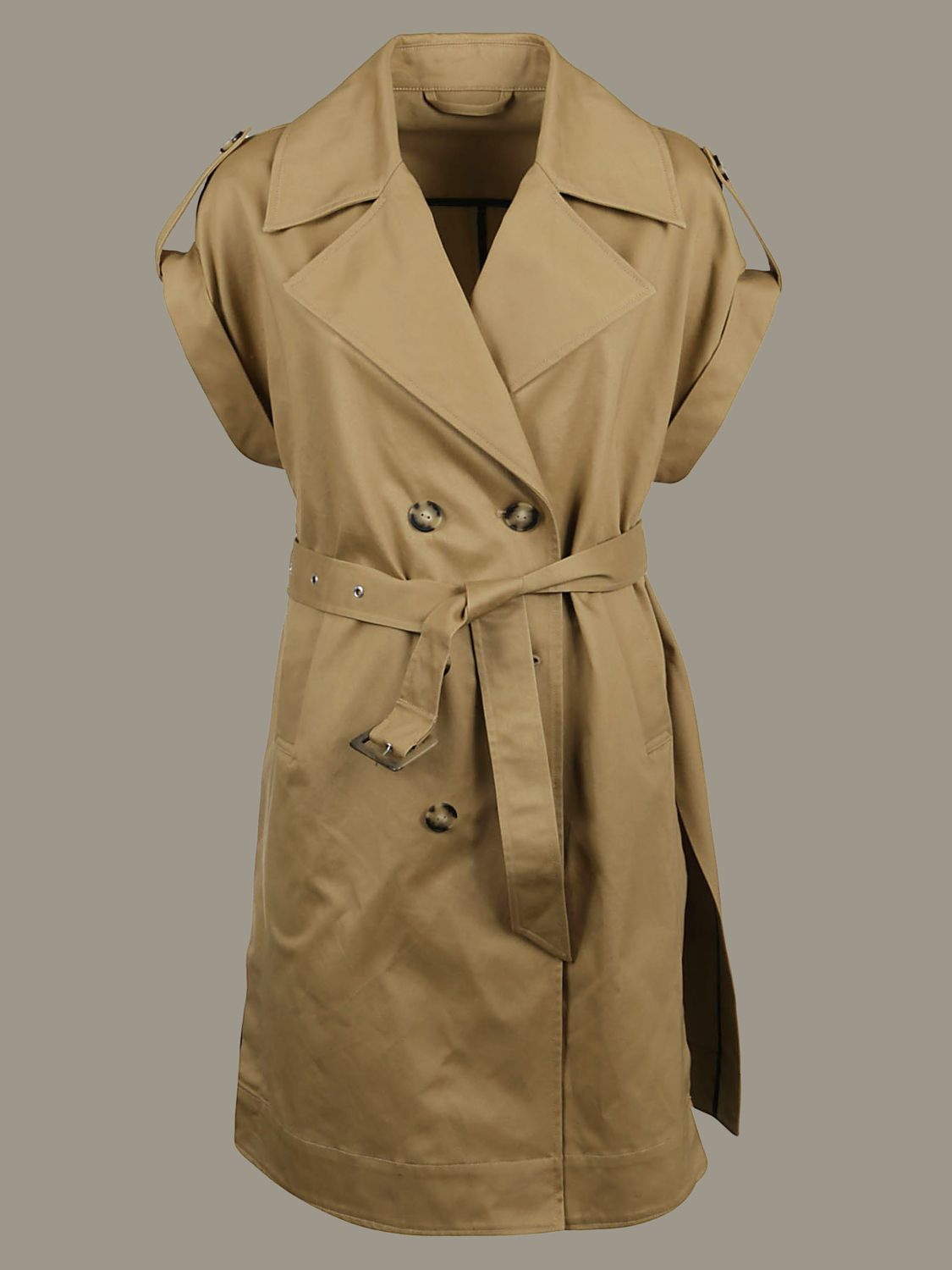 Pinko double-breasted trench coat with belt beige 1
