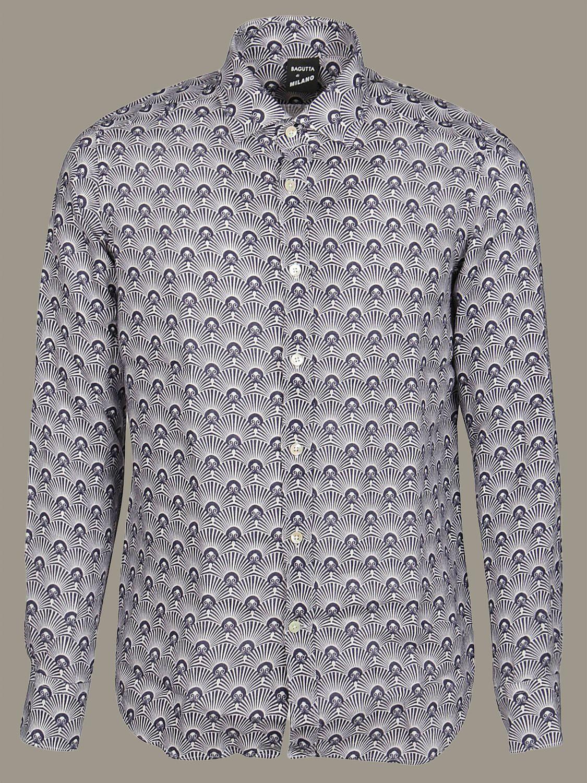 Camicia Bagutta a micro fantasia bianco 1
