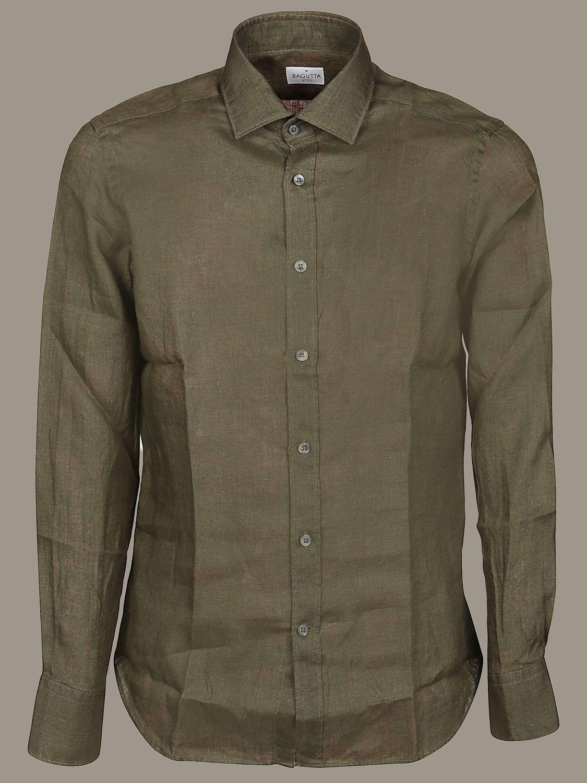 Camicia Bagutta con collo francese verde 1