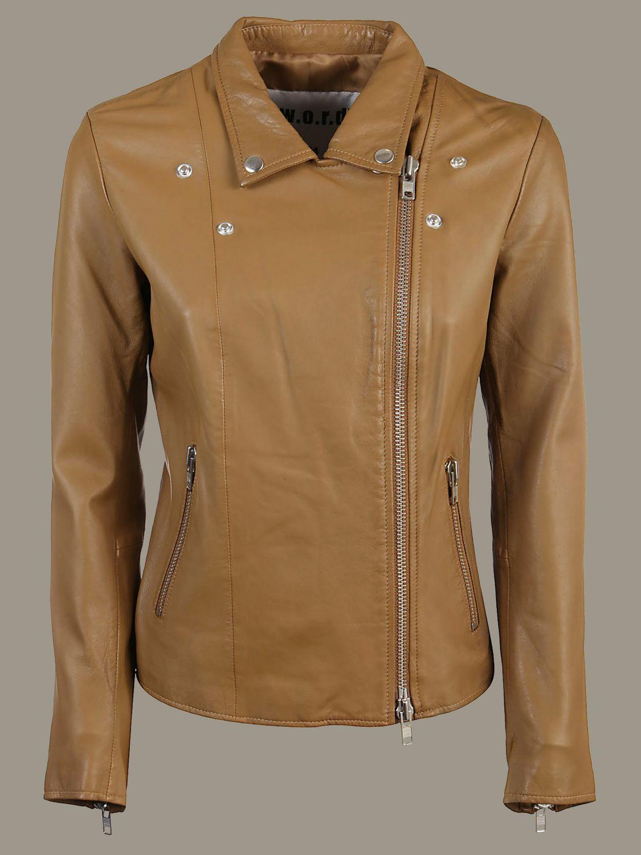 Veste S.w.o.r.d.: Veste en cuir S.W.O.R.D. avec zip en métal marron 1