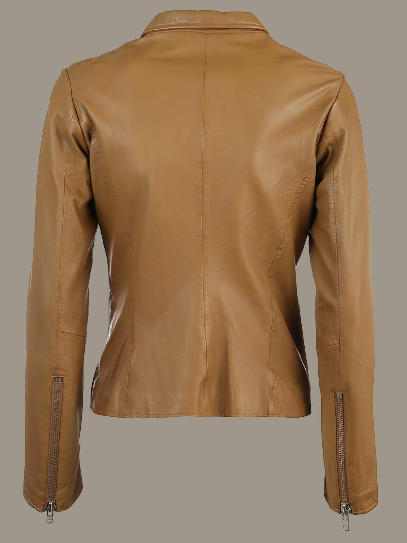 Veste S.w.o.r.d.: Veste en cuir S.W.O.R.D. avec zip en métal marron 2