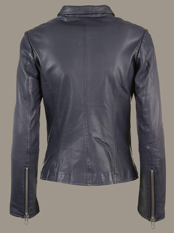 Veste S.w.o.r.d.: Veste en cuir S.W.O.R.D. avec zip en métal anthracite 2