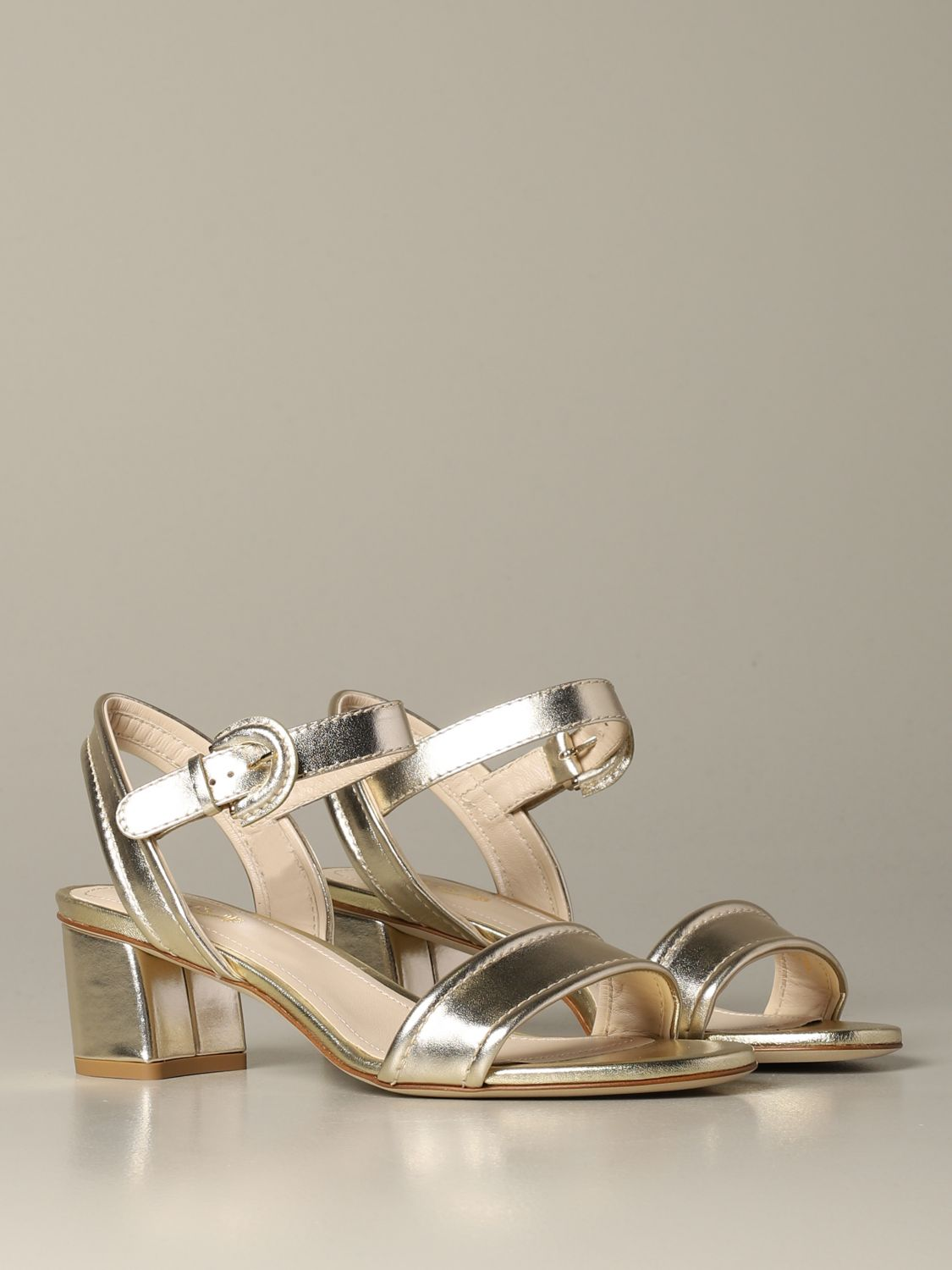 Tod's sandal in laminated leather gold 2