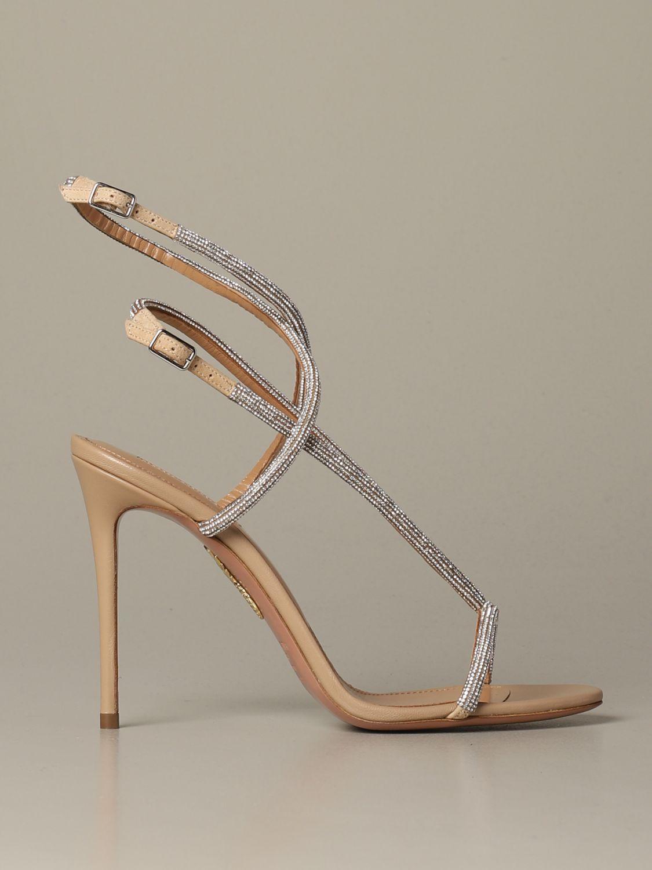 Босоножки на каблуке Женское Aquazzura бежевый 1