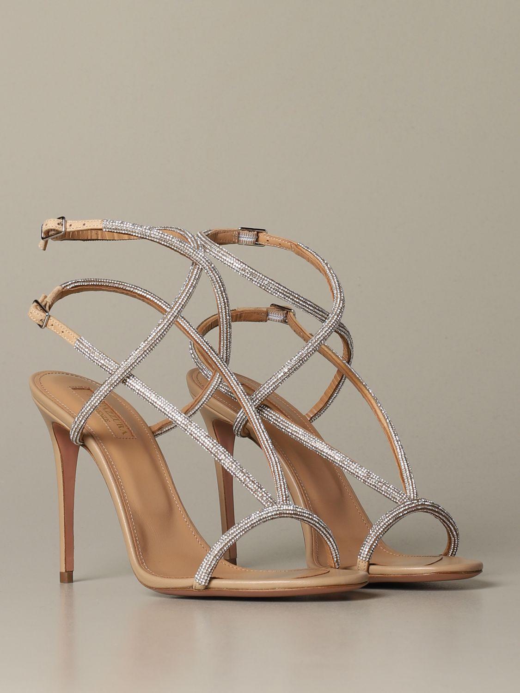 Босоножки на каблуке Женское Aquazzura бежевый 2