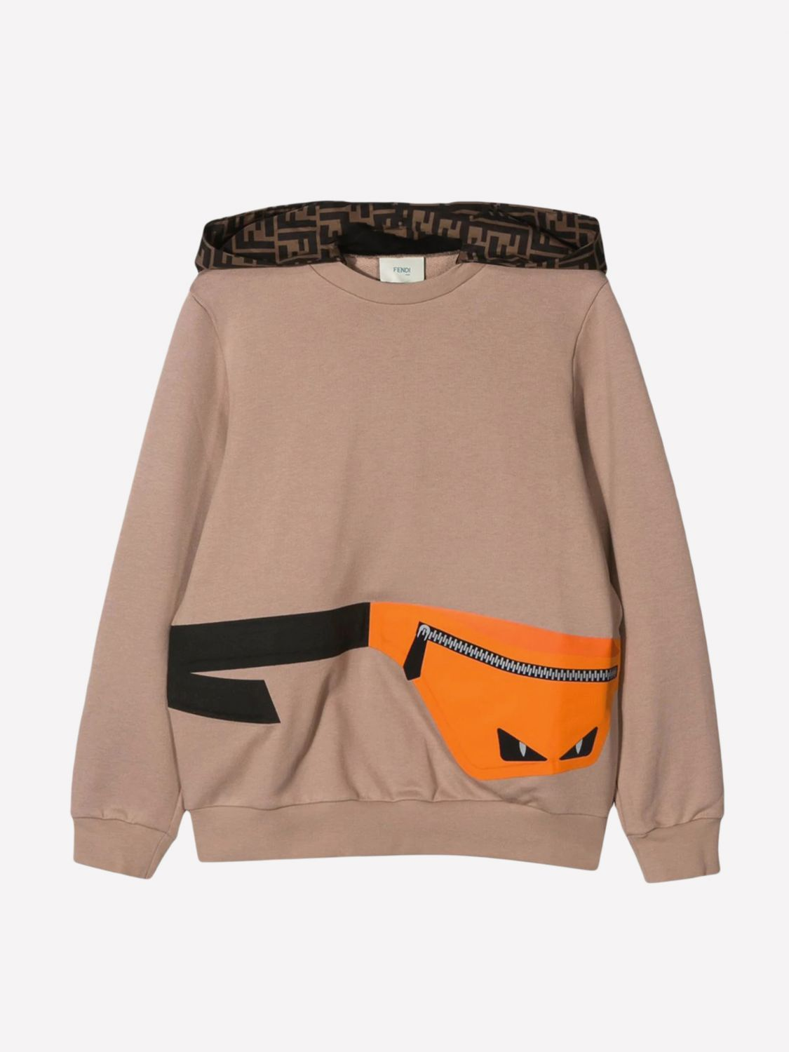 Fendi sweater with hood and pouch print beige 1
