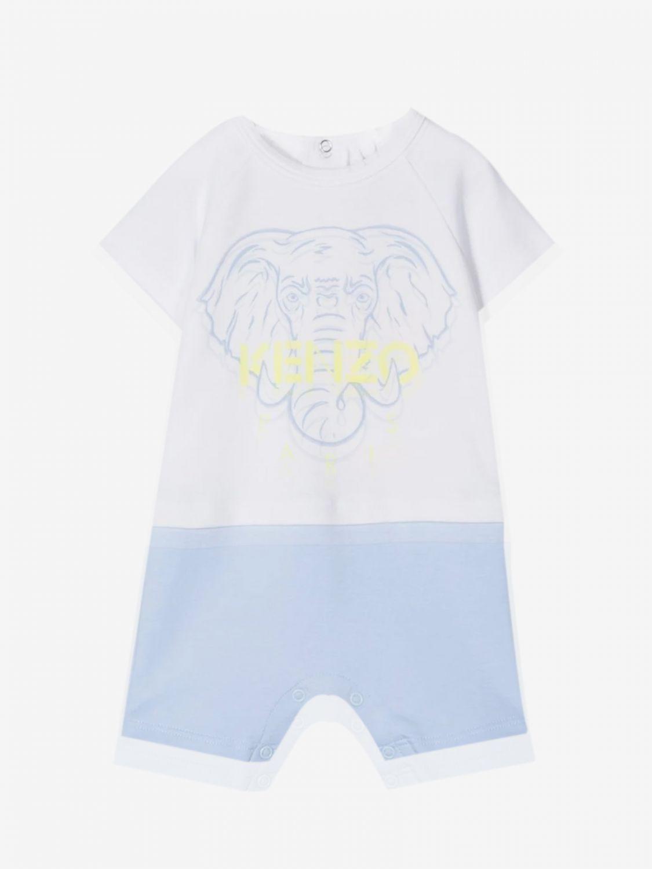 Kenzo Junior onesie with elephant print white 1