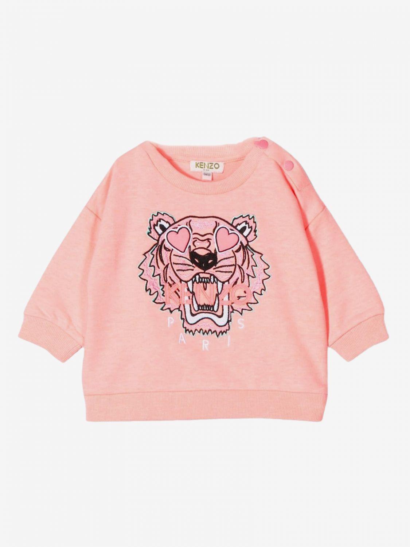 Kenzo Junior crewneck sweatshirt with Tiger Kenzo Paris logo pink 1