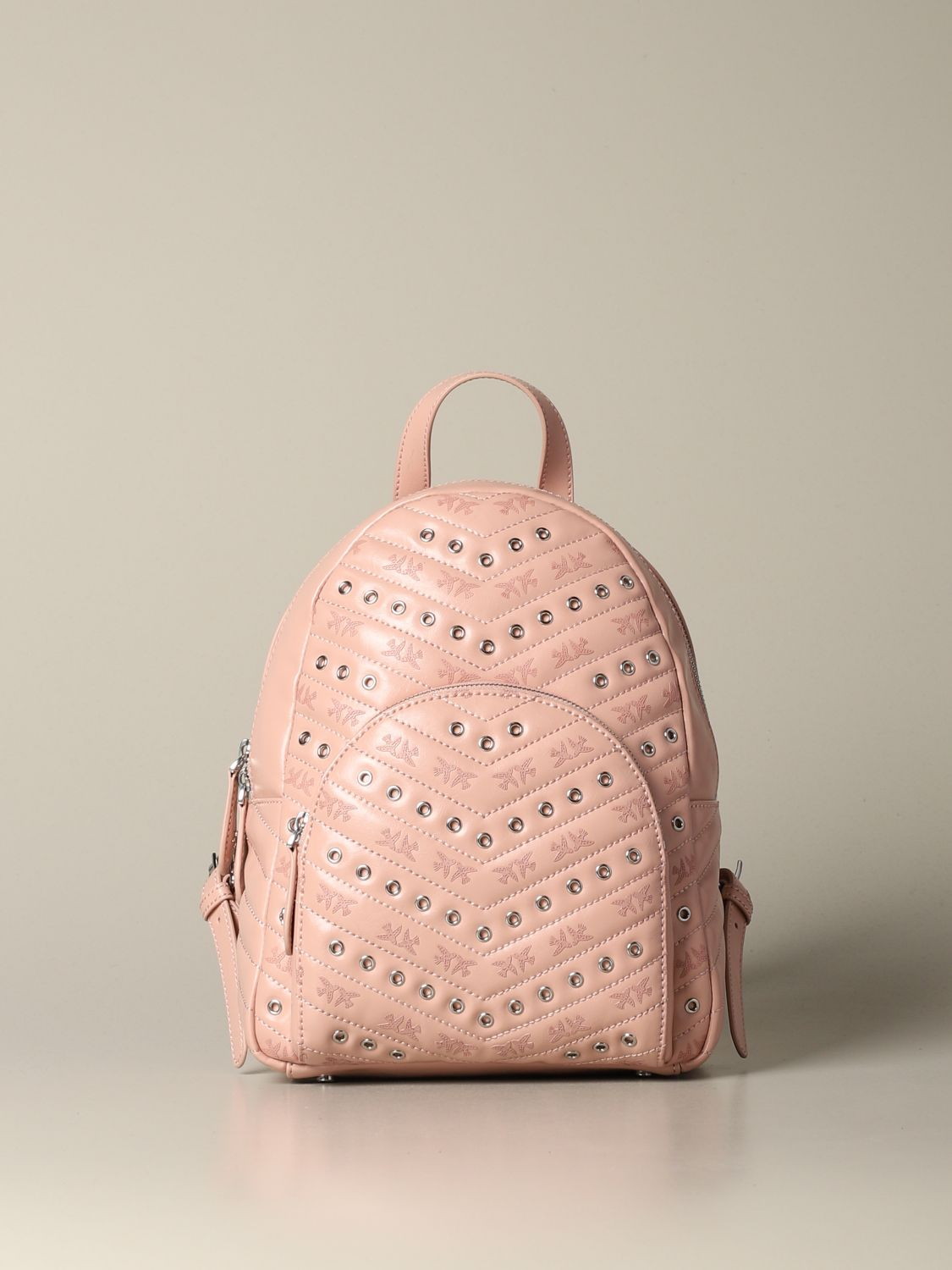 Backpack Pinko: Mini Pinko backpack in leather with studs blush pink 1
