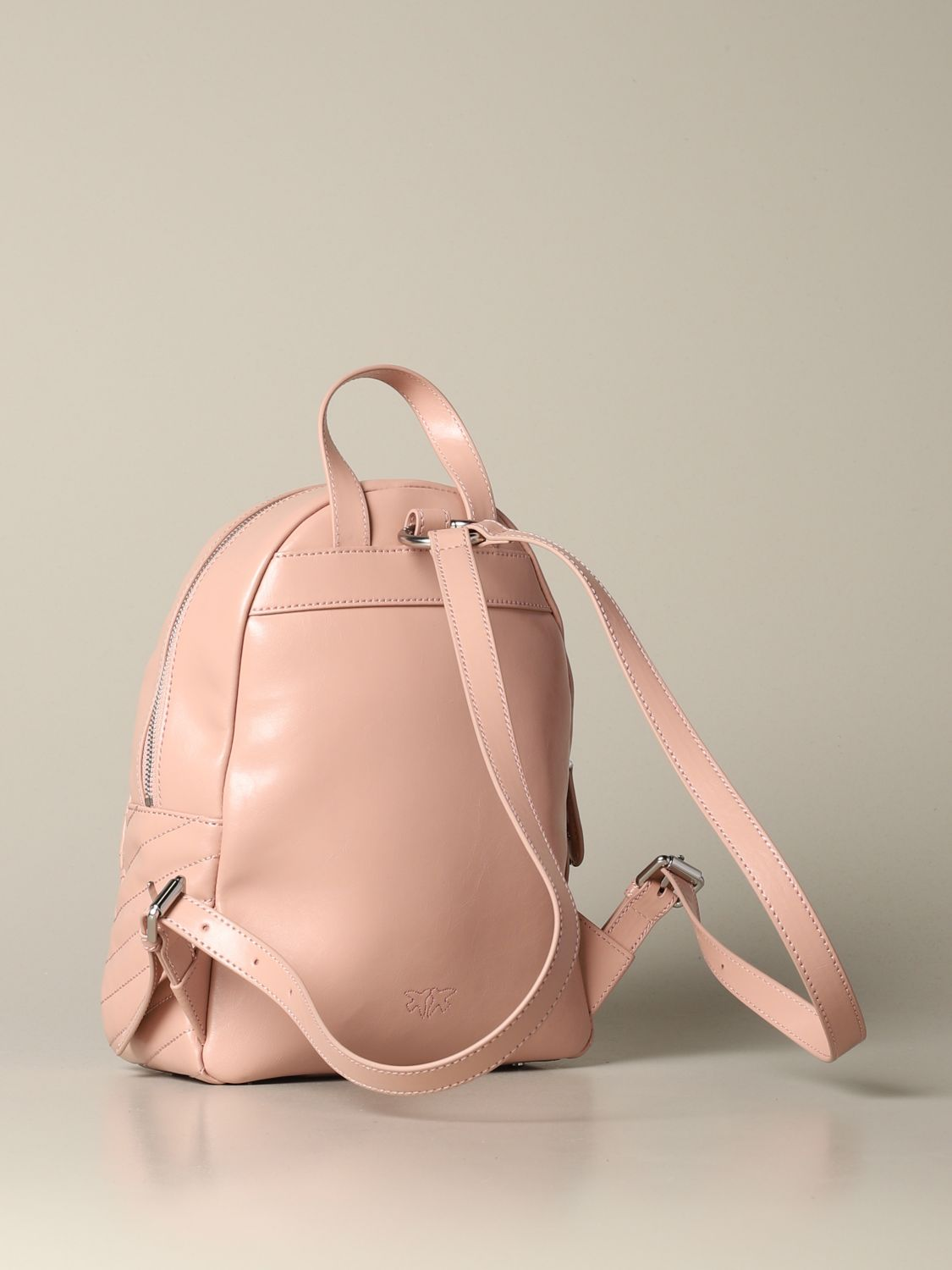 Backpack Pinko: Mini Pinko backpack in leather with studs blush pink 2