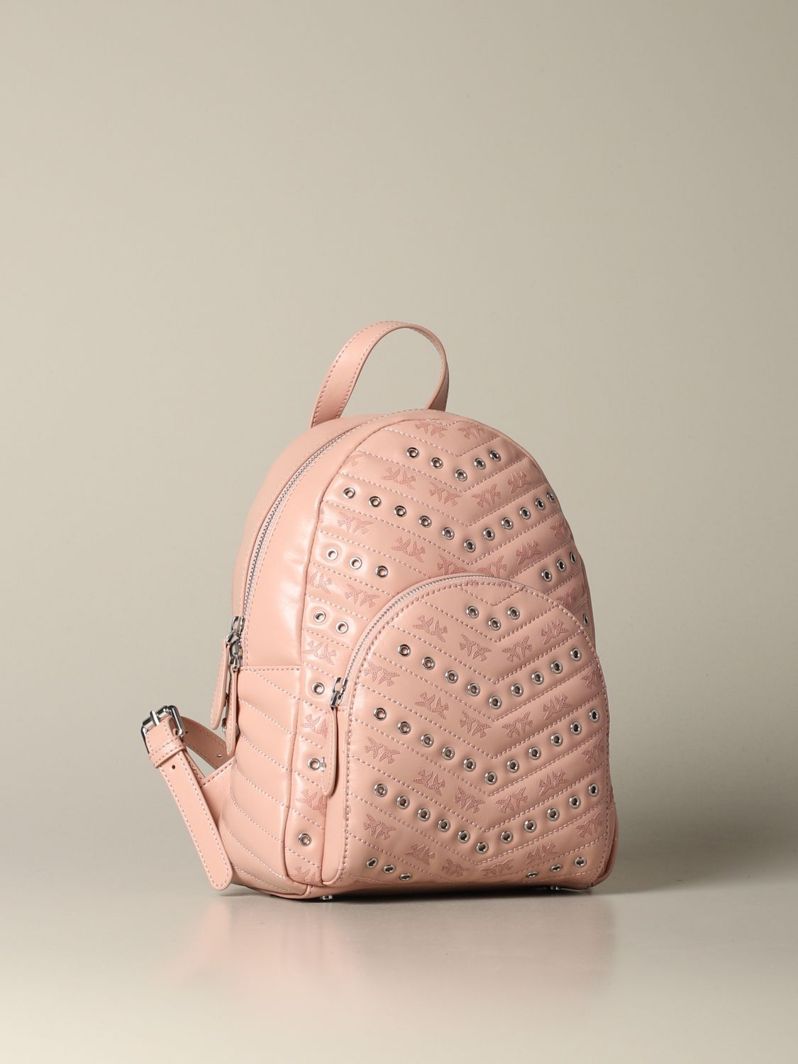 Backpack Pinko: Mini Pinko backpack in leather with studs blush pink 3