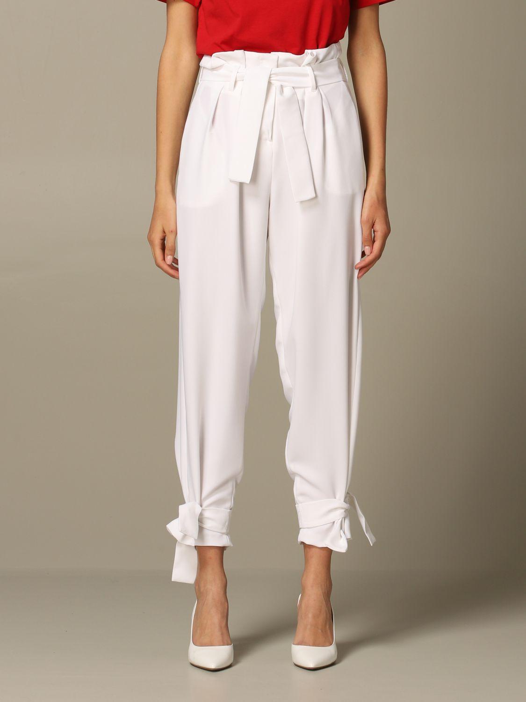 Pantalone Gaelle Bonheur a vita alta con cinta bianco 1