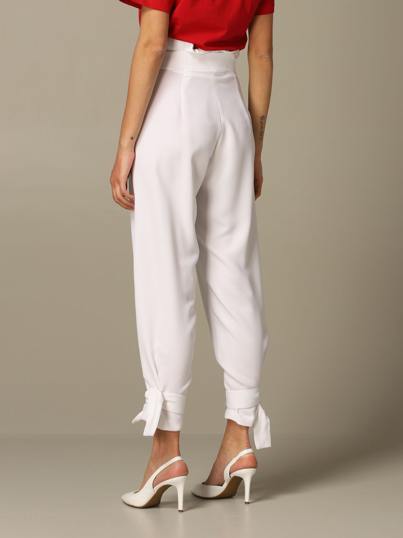 Pantalone Gaelle Bonheur a vita alta con cinta bianco 2