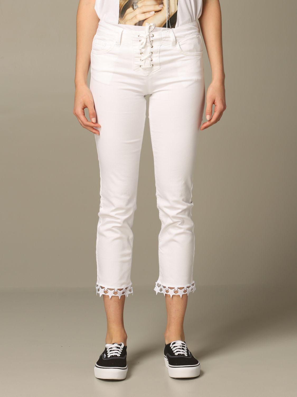 Pantalone Liu Jo con criss cross e stelle effetto laser bianco 1