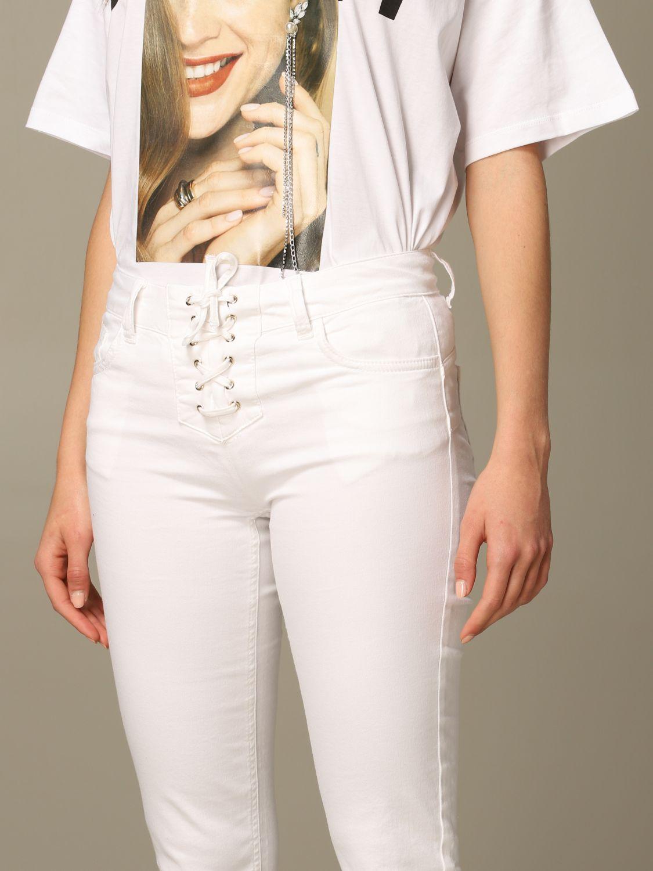 Pantalone Liu Jo con criss cross e stelle effetto laser bianco 3
