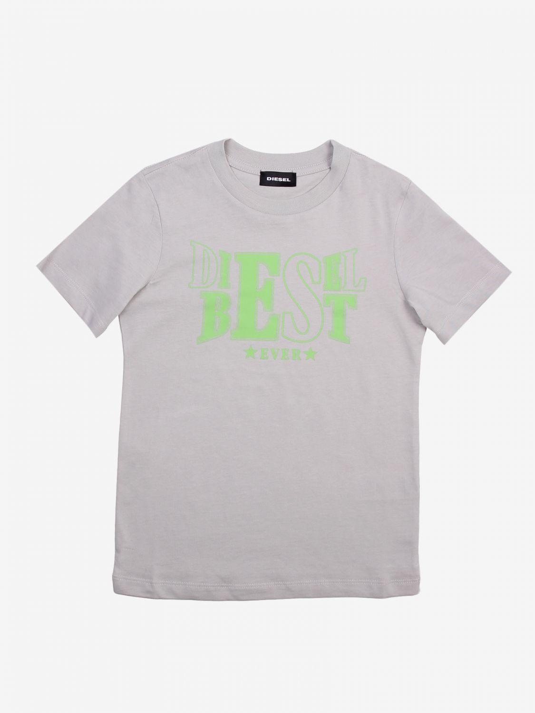 T-shirt Diesel: T-shirt Diesel con stampa logo grigio 1