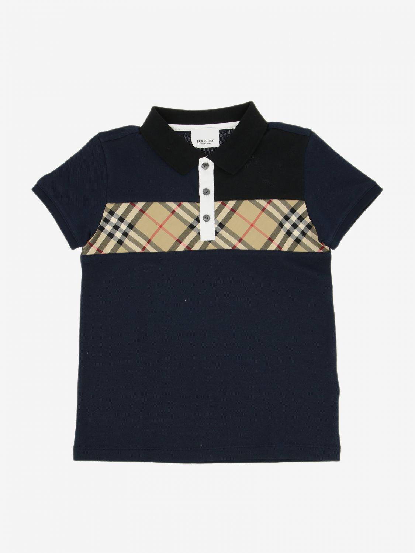 T-shirt Burberry Infant: Polo Burberry Infant con banda check blue 1