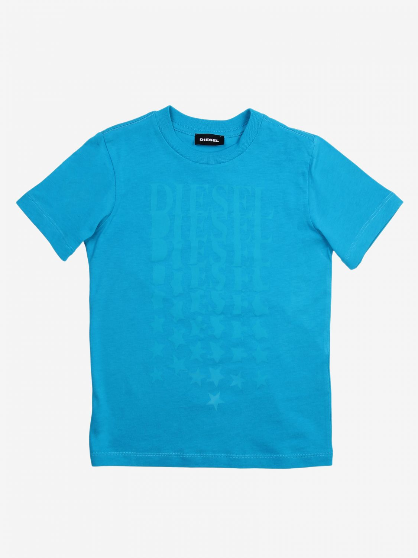 T-shirt Diesel: T-shirt Diesel con logo azzurro 1