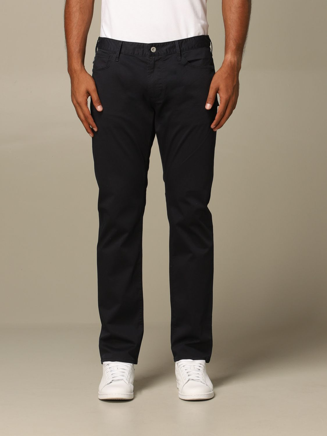 Pants Emporio Armani: Emporio Armani regular-waisted trousers navy 1
