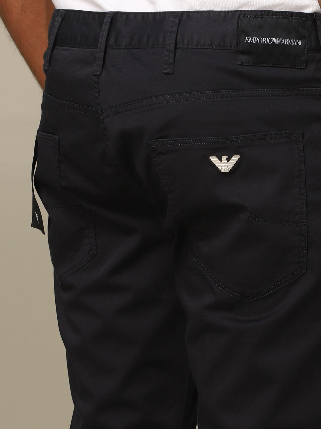 Pants Emporio Armani: Emporio Armani regular-waisted trousers navy 3