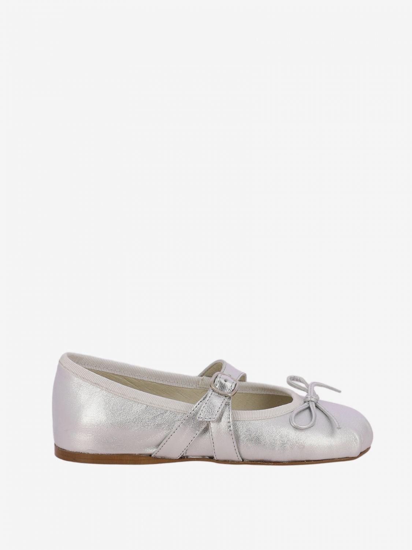 Scarpe Douuod: Ballerina Douuod laminata con fiocco argento 1