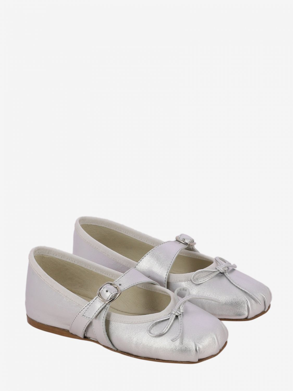 Scarpe Douuod: Ballerina Douuod laminata con fiocco argento 2