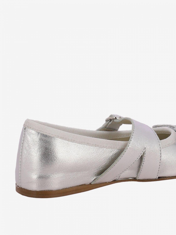 Scarpe Douuod: Ballerina Douuod laminata con fiocco argento 3
