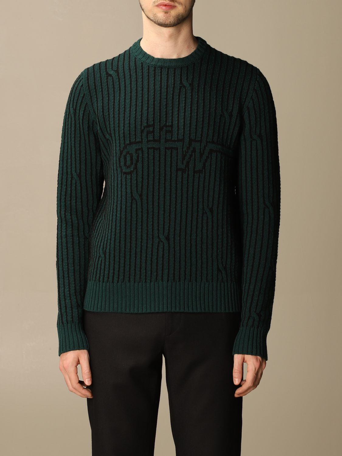 Sweater Off White: Off White men's sweater green 1