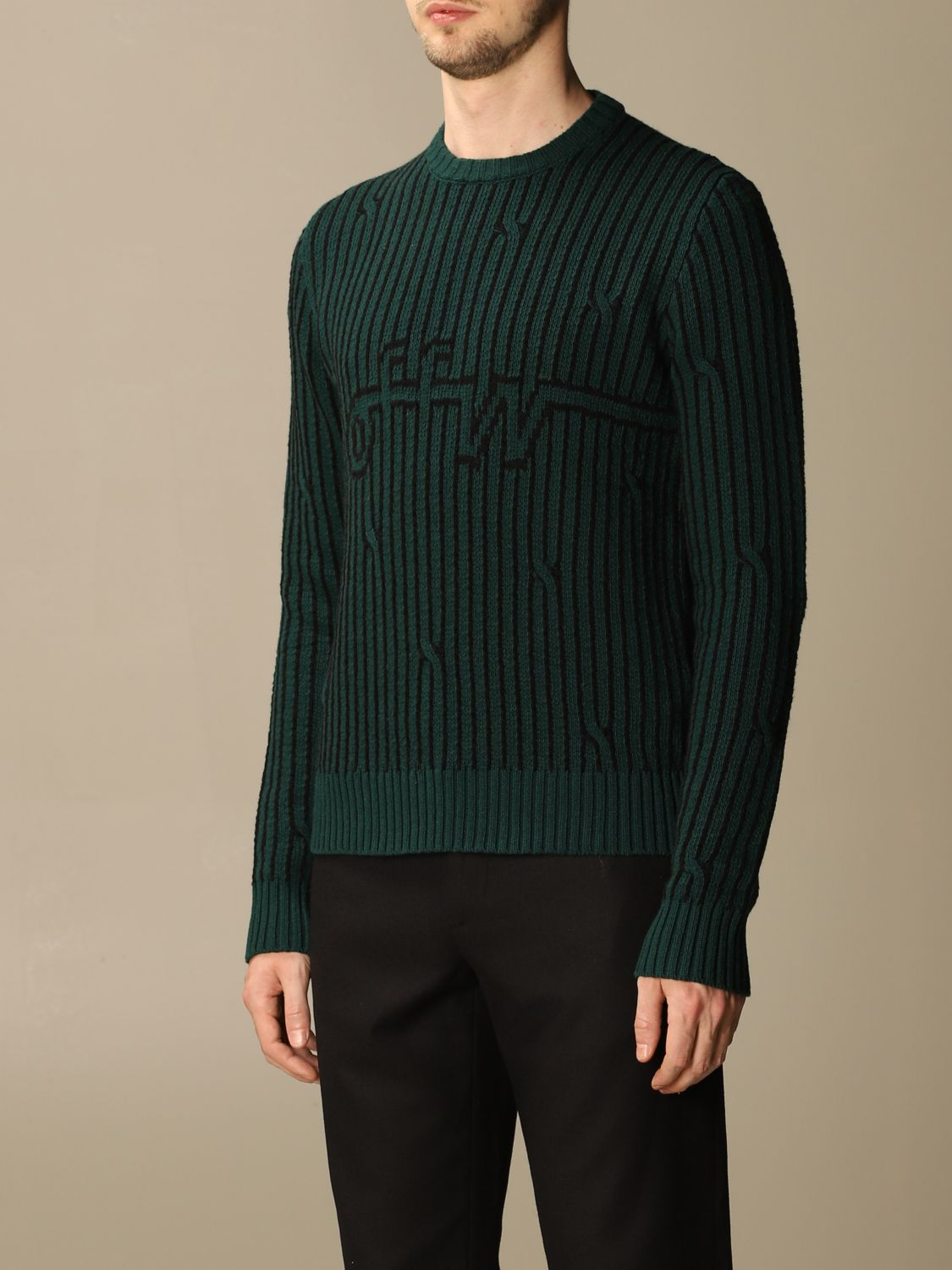 Sweater Off White: Off White men's sweater green 3