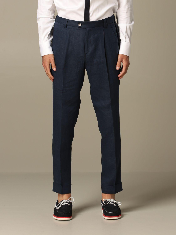 Pantalone Alessandro Dell'acqua: Pantalone Alessandro Dell'acqua in lino blue 1