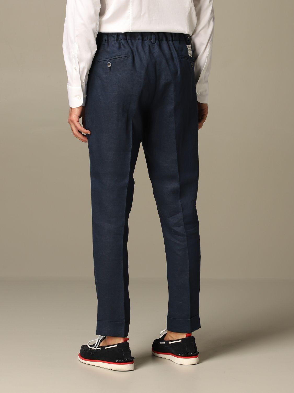 Pantalone Alessandro Dell'acqua: Pantalone Alessandro Dell'acqua in lino blue 2