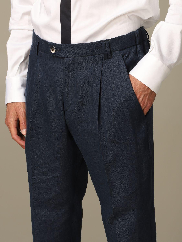 Pantalone Alessandro Dell'acqua: Pantalone Alessandro Dell'acqua in lino blue 3