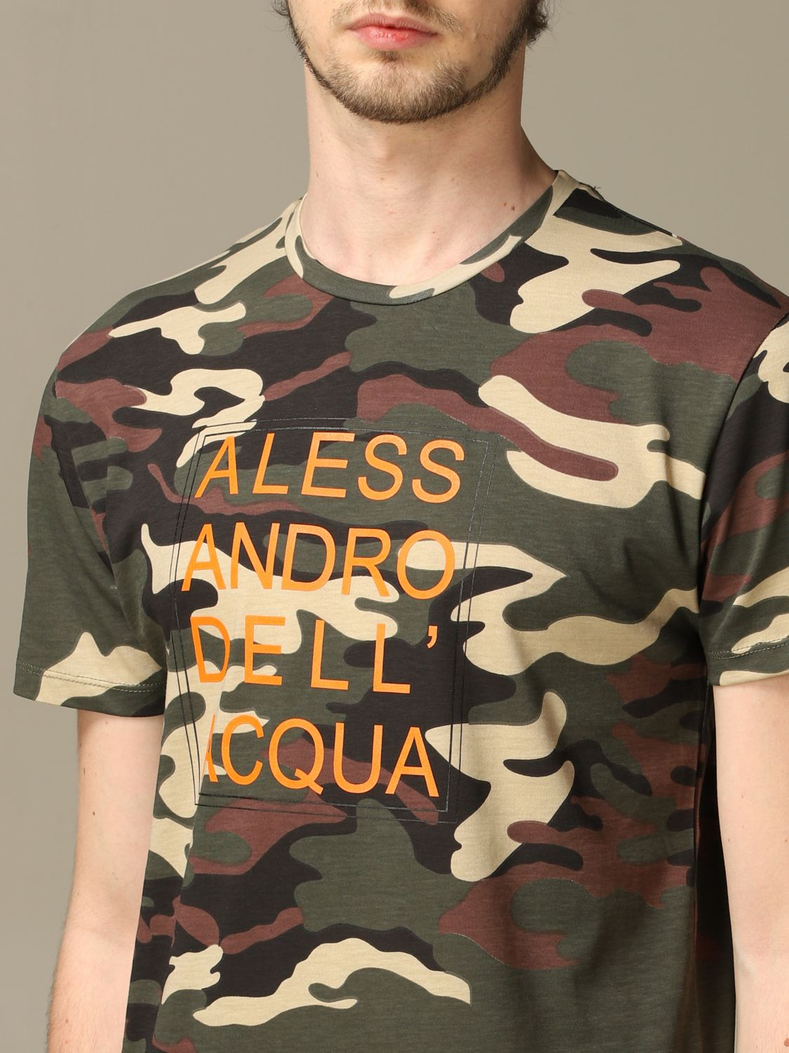 Sweater Alessandro Dell'acqua: Alessandro Dell'acqua camouflage t-shirt with logo green 3
