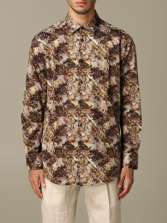 Shirt Alessandro Dell'acqua: Alessandro Dell'acqua printed shirt brown 1