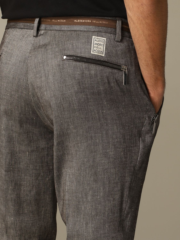 Pantalone Alessandro Dell'acqua: Pantalone Alessandro Dell'acqua in misto lino marrone 3