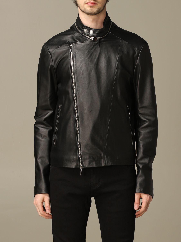 Jacket Alessandro Dell'acqua: Alessandro Dell'acqua nail with zip in real leather black 1