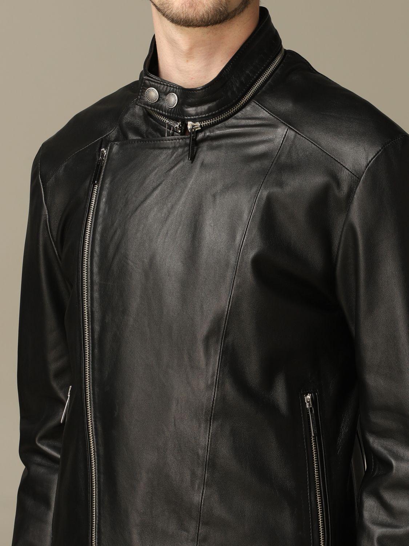 Jacket Alessandro Dell'acqua: Alessandro Dell'acqua nail with zip in real leather black 3