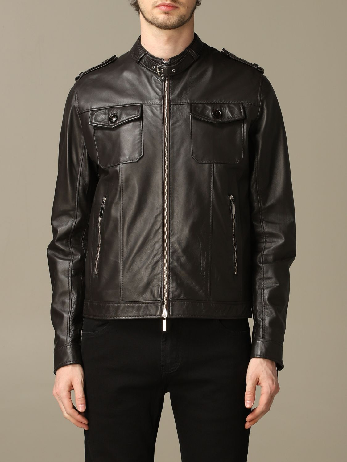 Jacket Alessandro Dell'acqua: Alessandro Dell'acqua leather jacket with zip brown 1