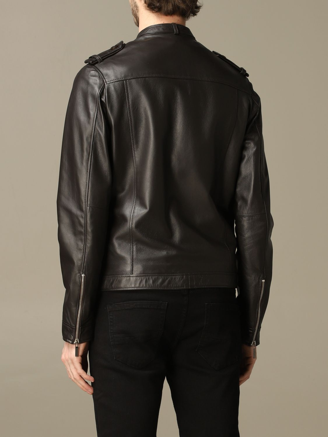Jacket Alessandro Dell'acqua: Alessandro Dell'acqua leather jacket with zip brown 2