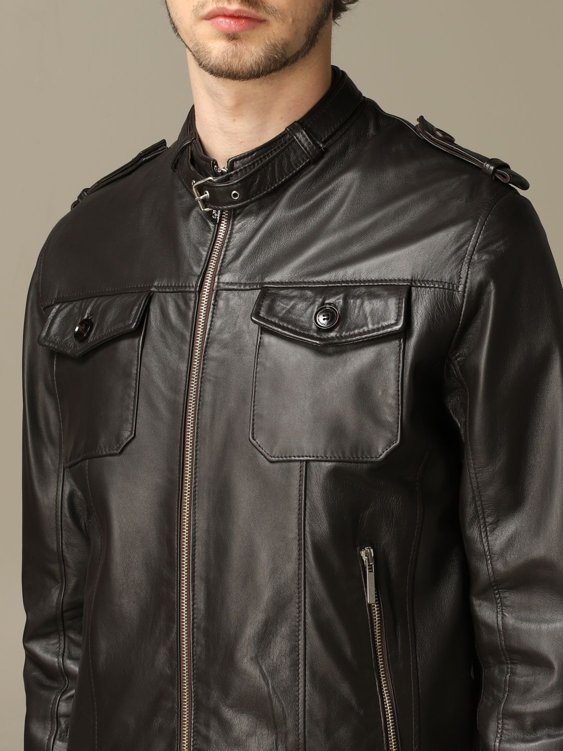 Jacket Alessandro Dell'acqua: Alessandro Dell'acqua leather jacket with zip brown 3