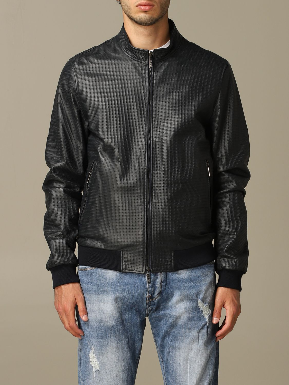 Jacket Alessandro Dell'acqua: Alessandro Dell'acqua bomber jacket in real leather blue 1