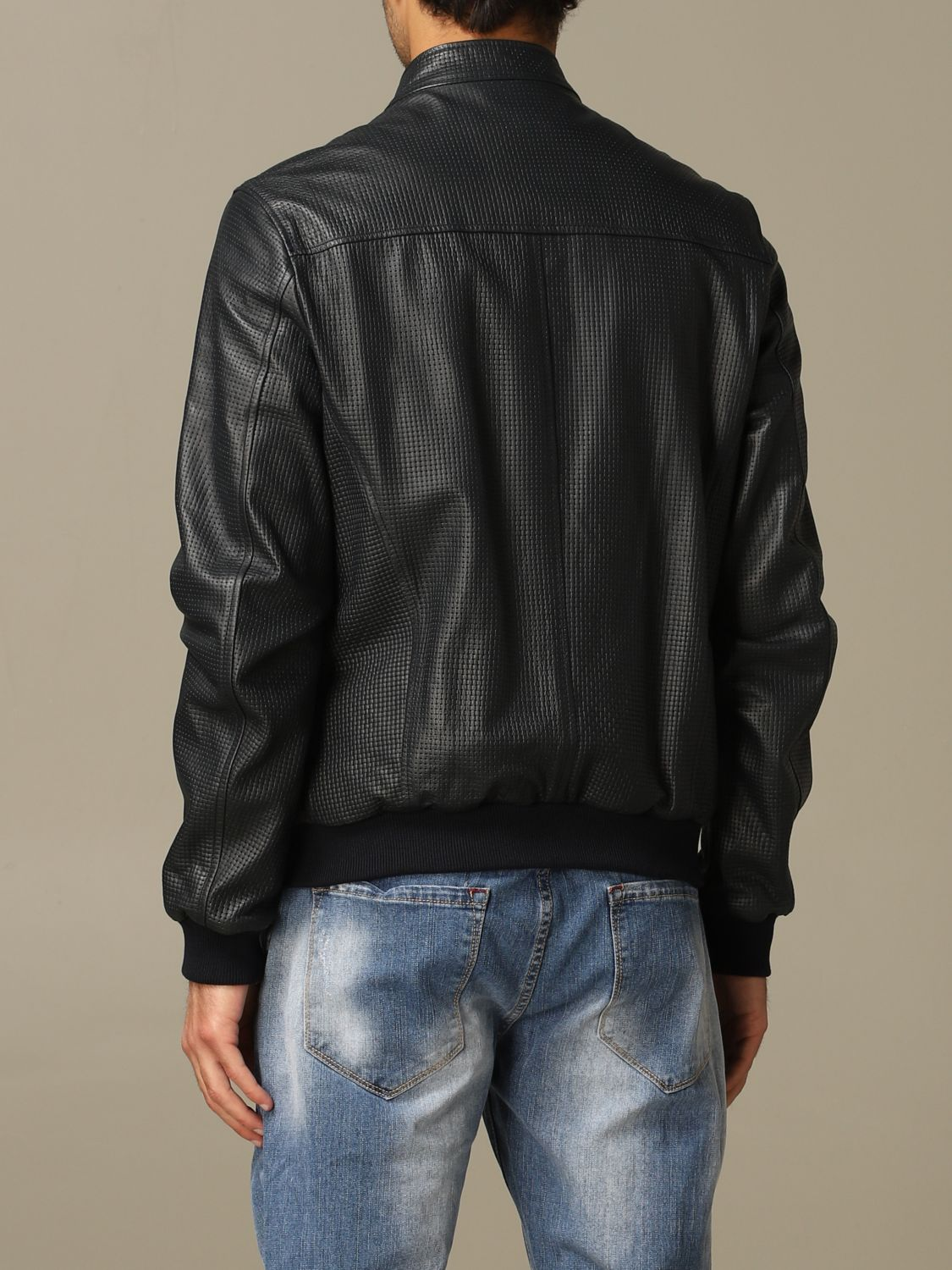 Jacket Alessandro Dell'acqua: Alessandro Dell'acqua bomber jacket in real leather blue 2