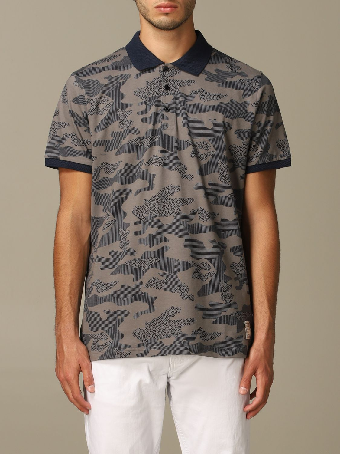 Sweater Alessandro Dell'acqua: Alessandro Dell'acqua polo shirt in camouflage patterned cotton grey 1