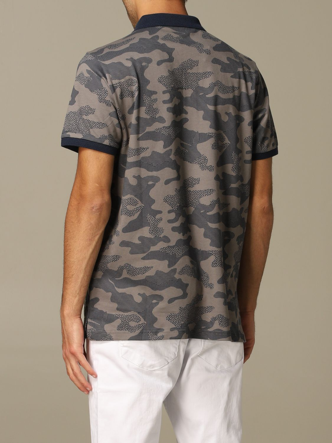 Sweater Alessandro Dell'acqua: Alessandro Dell'acqua polo shirt in camouflage patterned cotton grey 2