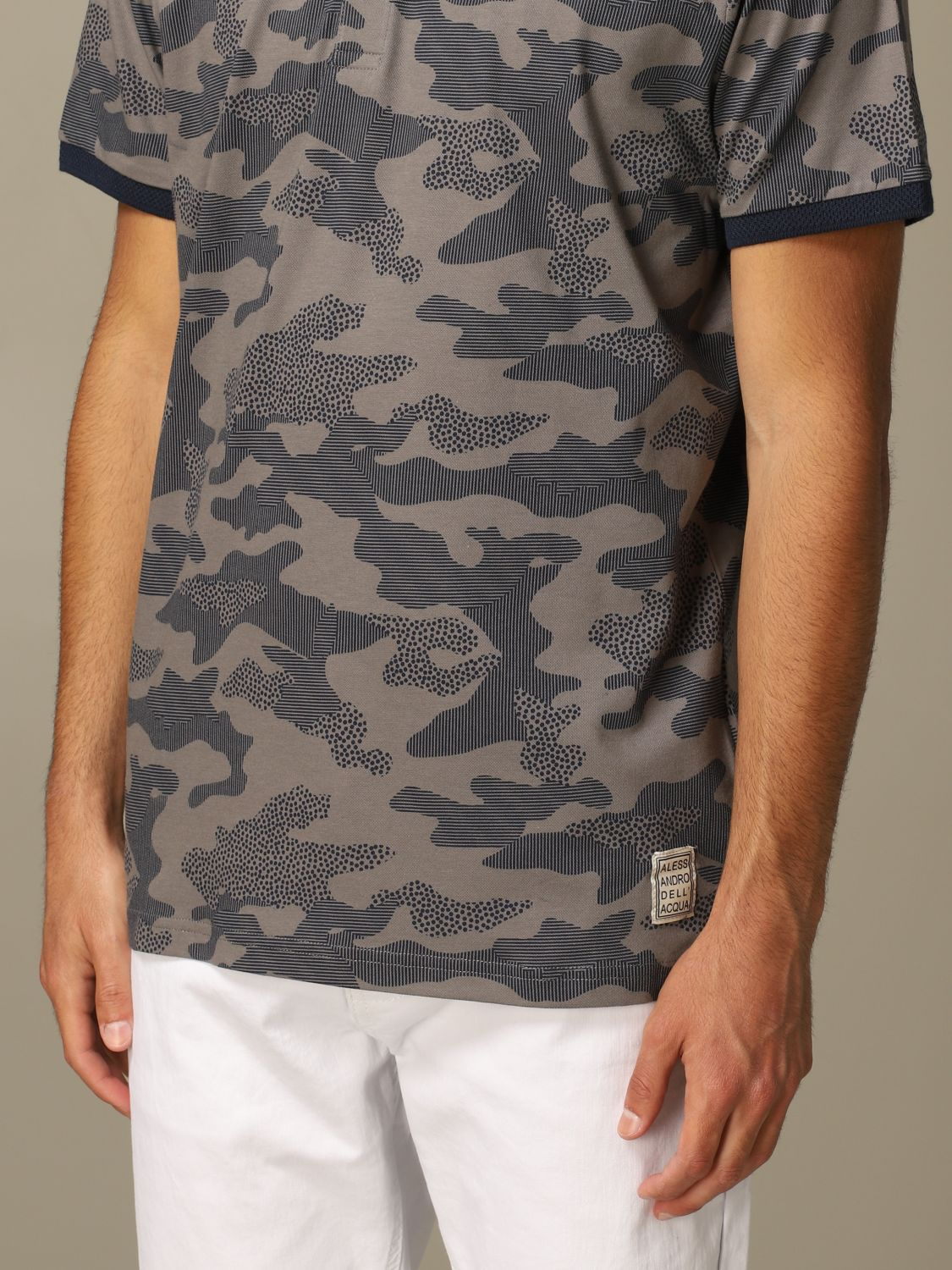 Sweater Alessandro Dell'acqua: Alessandro Dell'acqua polo shirt in camouflage patterned cotton grey 3