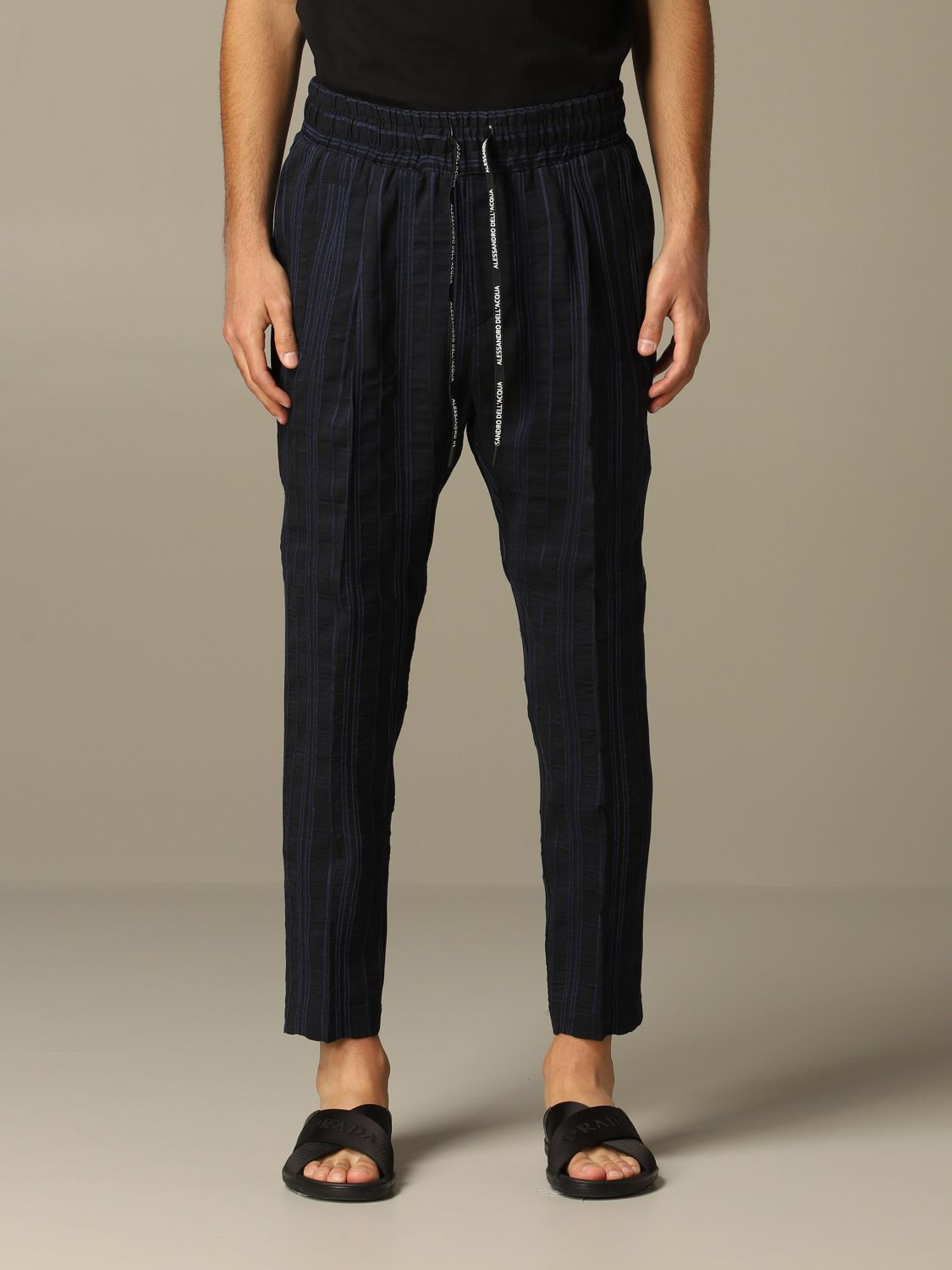 Pants Alessandro Dell'acqua: Alessandro Dell'acqua trousers in striped linen blend blue 1